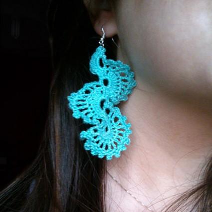 Γαλάζια πλεκτά σκουλαρίκια