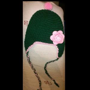 Σκούρο πράσινο - ροζ σκουφάκι